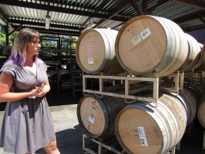 Tour guide Alison and two types of oak barrels